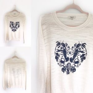 Madewell Ivory & Navy Lobster Heart Sweater